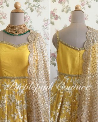 Sunshine Yellow Short Anarkali Heavy Thread Sequins Embroidery