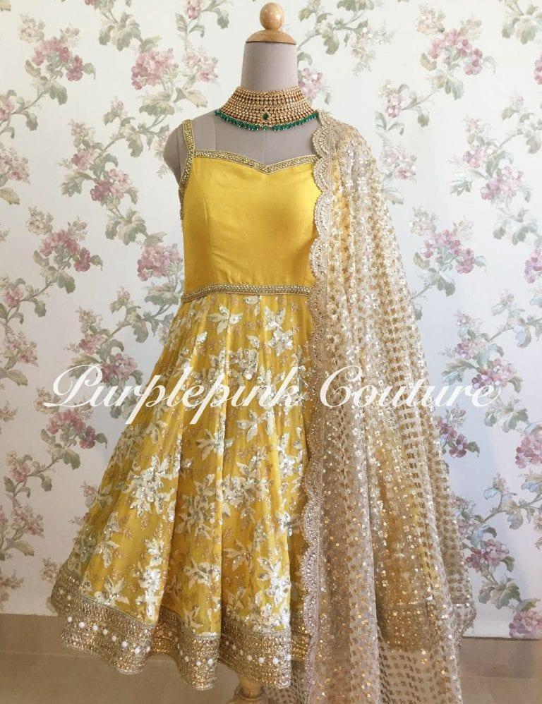 Sunshine Yellow Short Anarkali Heavy Thread Sequins Embroidery
