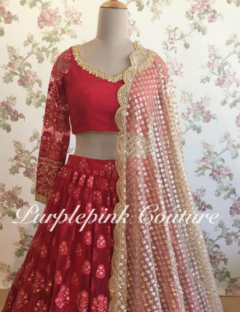Hot Red Lucknowi Lehenga Choli
