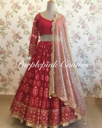 Hot Red Lucknowi Lehenga Choli