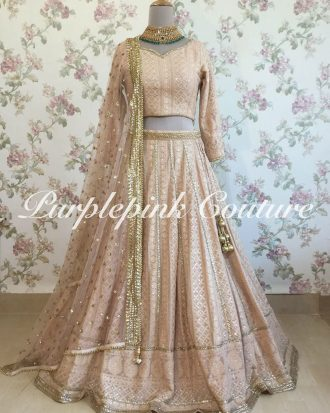 Pale Almond Lucknowi Georgette Lehenga Choli