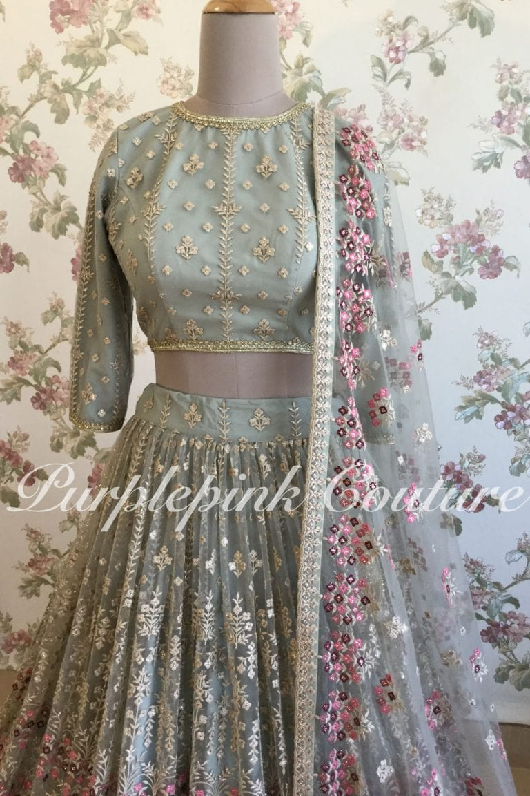 The Scintillating Greyish Green Lehenga with the Pop of Plum Pink