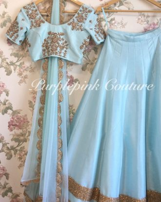 Baby Blue Raw Silk Hand Embroidered Lehenga Choli