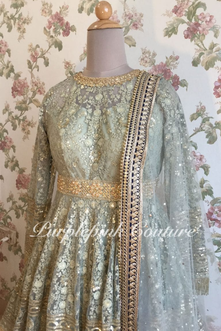 Greyish Green Peplum Top Lehenga Set