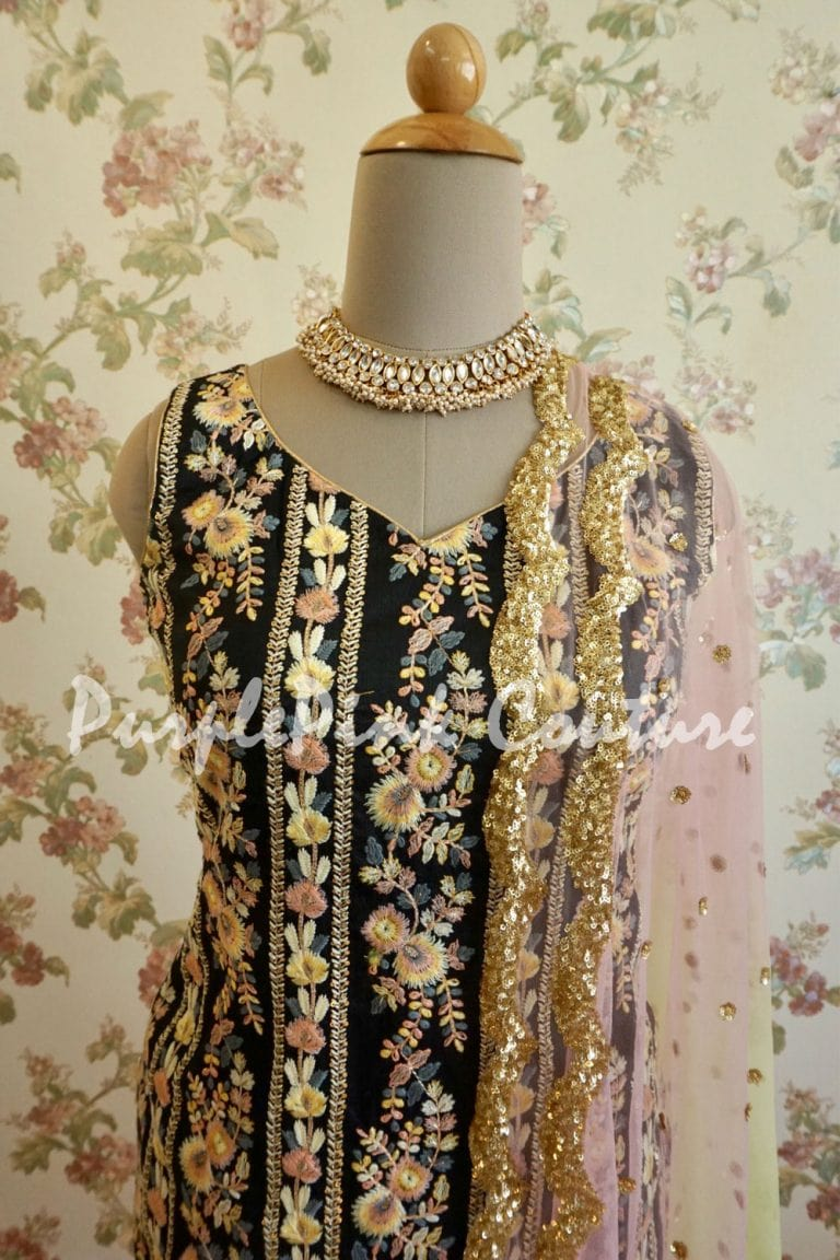 Enchanted Raw Silk Floral Thread Embroidered Suit
