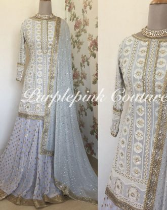 Metallic Grey Mogra Sharara