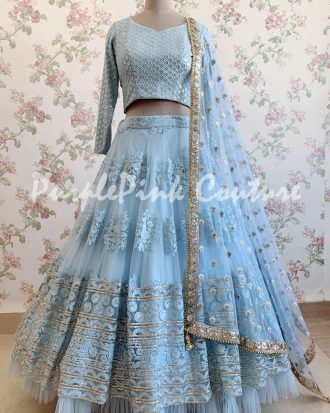 Ice Blue Net Base Thread Embroidered Lehenga Choli
