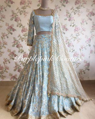 Ice Blue Lehenga Choli Georgette Heavy Sequins Thread Embroidered