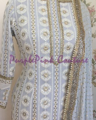Metallic Grey Mogra Suit