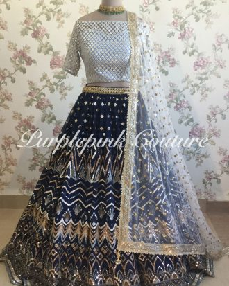 Midnight Blue Mirror Lehenga