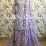 Lavender Thread Sequins Work Sharara Set