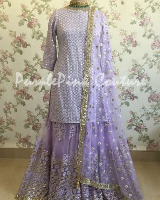 Lavender Thread Sequins Work Sharara Set