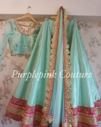 Firozi Hand Embroidered Lehenga Choli