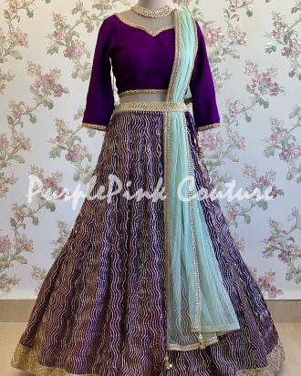 Eggplant Georgette Heavy Sequins Embroidery Lehenga Silk Choli