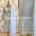 Thread Sequins Embroidered Powered Blue Punjabi Suit