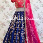 Hand Embroidered Navy Blue Lehenga Pink Choli Raw Silk