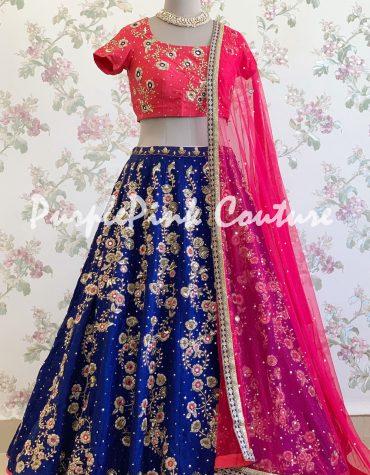Hand Embroidered Navy Blue Lehenga Pink Choli Raw Silk