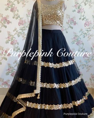 Black Hand Embroidered Raw Silk Lehenga Choli