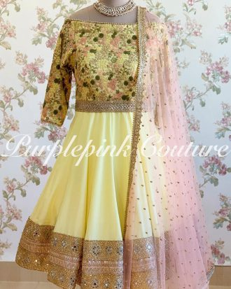 Yellow Peony Anarkali Heavy Thread Sequins Embroidery