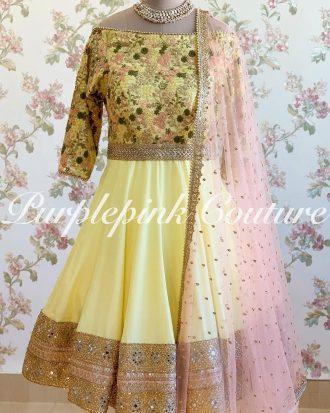 Yellow Peony Anarkali Heavy Thread Sequins Embroidery