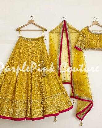 Sunshine Yellow Lehenga Choli Magenta Pink Border