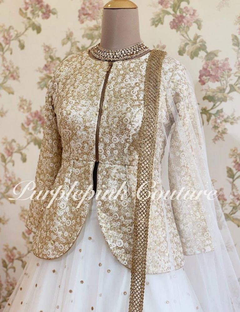 White Lehenga Jacket Style Peplum