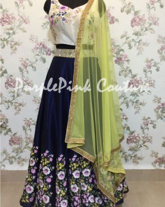 Hand Embroidered Navy Blue Lehenga Beige Choli Raw Silk