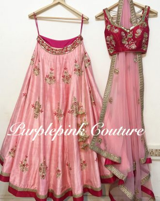 Pink Raw Silk Hand Embroidered Lehenga Choli