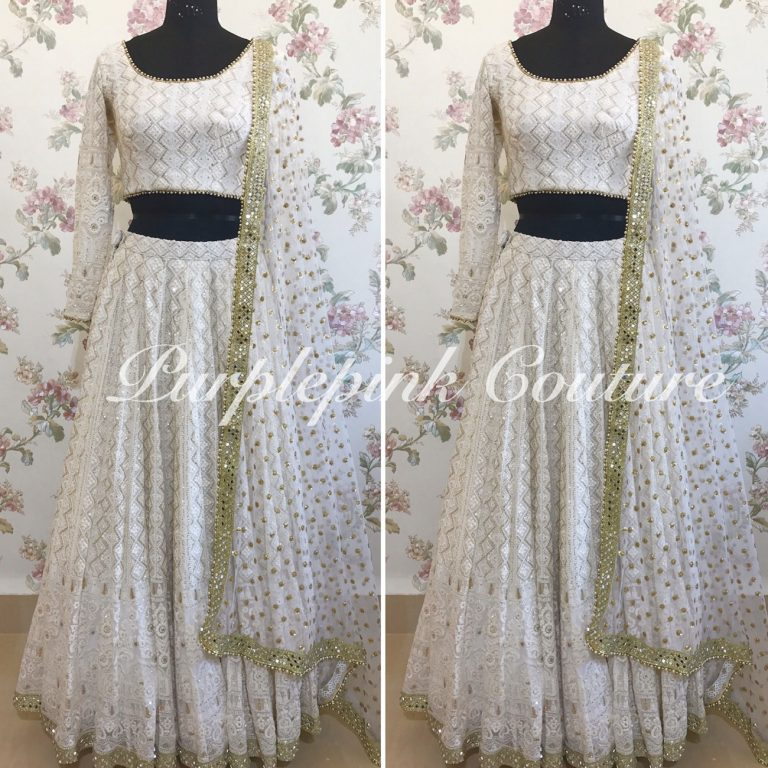 White Lucknowi Lehenga Choli Sequin Dupatta