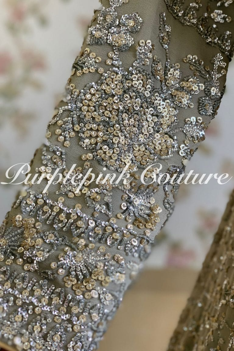 Intricate Sequins Zari Frosted Grey Anarkali