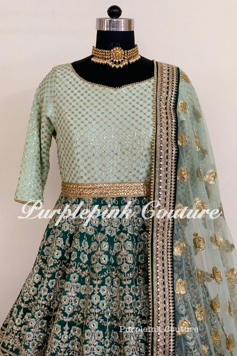 Teal Green Raw Silk Heavy Embroidered Anarkali Gown