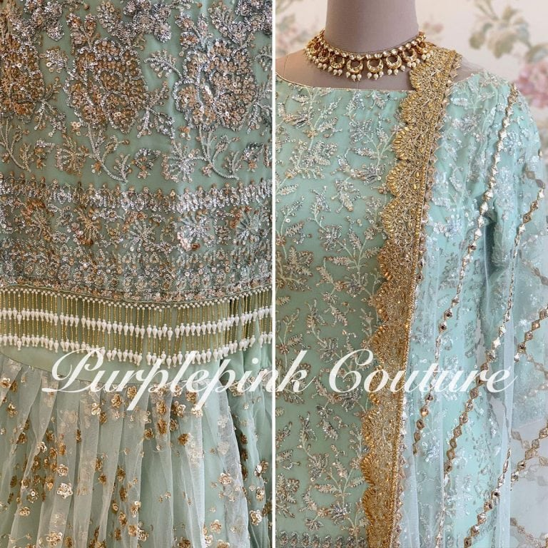Powdered Blue Heavy Sequins Embroidered Sharara Set