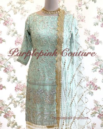 Powdered Blue Heavy Sequins Embroidered Suit