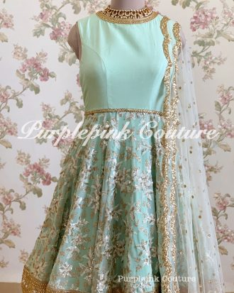 Pale Blue Heavy Embroidery Knee Length Anarkali