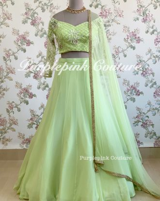Bright Green Georgette Lehenga Choli