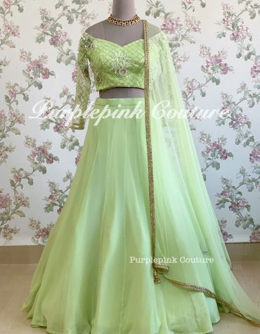 Bright Green Georgette Lehenga Choli