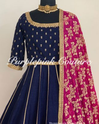Navy Blue Knee Length Anarkali Fuchsia Pink Dupatta