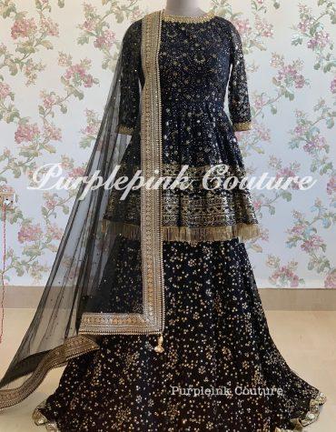 Black Peplum Top Lehenga Set Thread Sequins Work