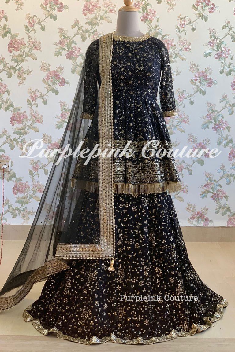 Black Peplum Top Lehenga Set Thread Sequins Work