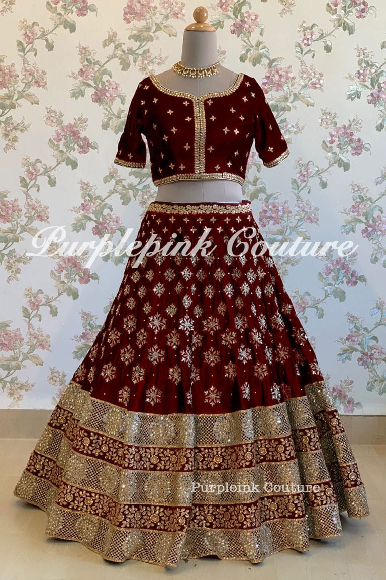 Maroon Hand Embroidered Lehenga Choli