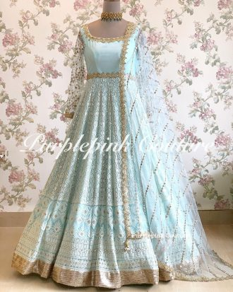 Lucknowi Thread Sequins Work Anarkali