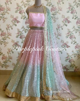 Snow Flakes Heavy Sequins Embroidered Dual Shade Lehenga Choli