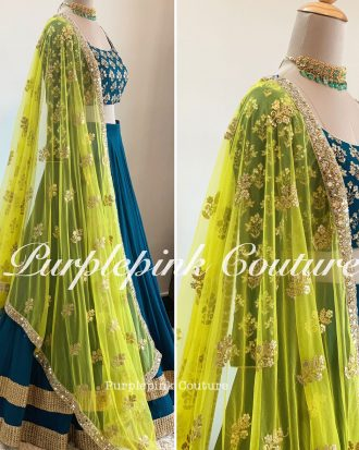 Teal Blue Hand Embroidered Georgette Lehenga Choli Bright Yellow Dupatta