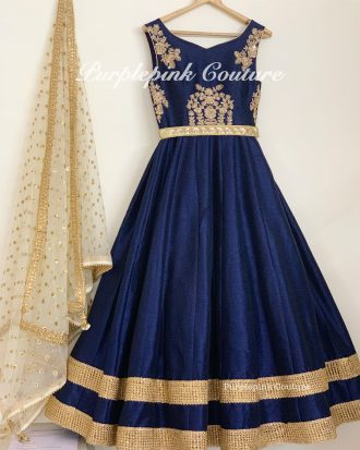 Raw Silk Hand Embroidered Navy Blue Anarkali