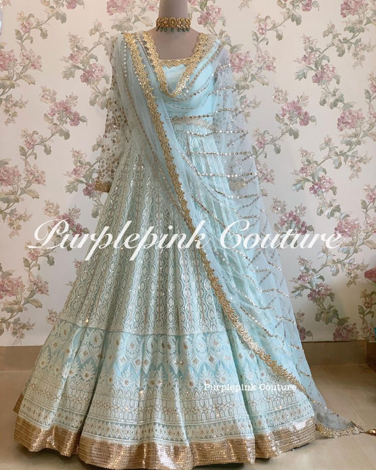 Lucknowi Thread Sequins Work Anarkali