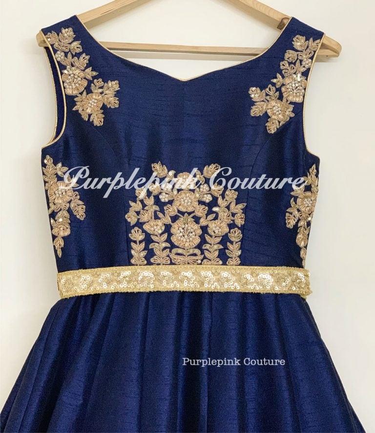 Raw Silk Hand Embroidered Navy Blue Anarkali