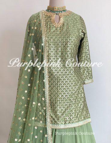 Olive Green Silk Suit Georgette Base Sharara