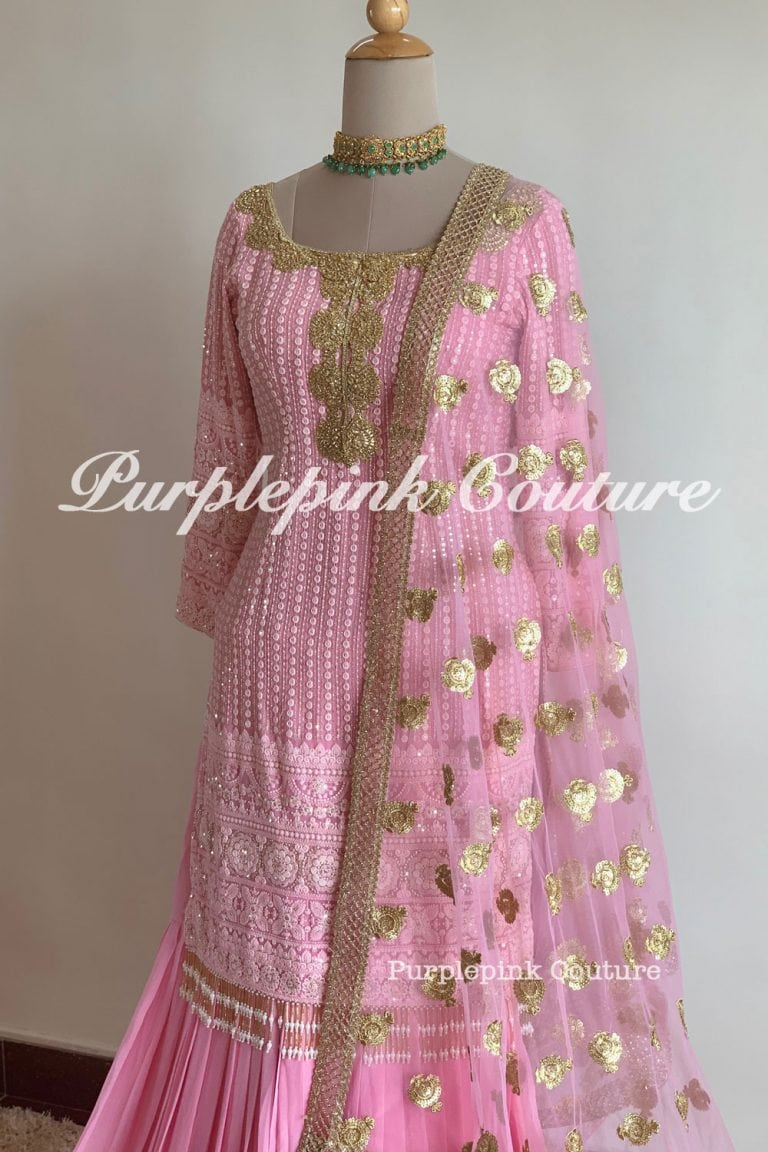 Pink Thread Sequins Embroidered Georgette Base Sharara Set