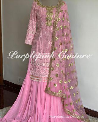 Pink Thread Sequins Embroidered Georgette Base Sharara Set