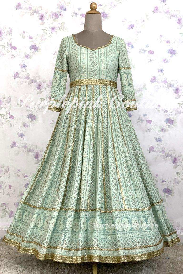 Aqua Blue Lucknowi Lehenga Choli